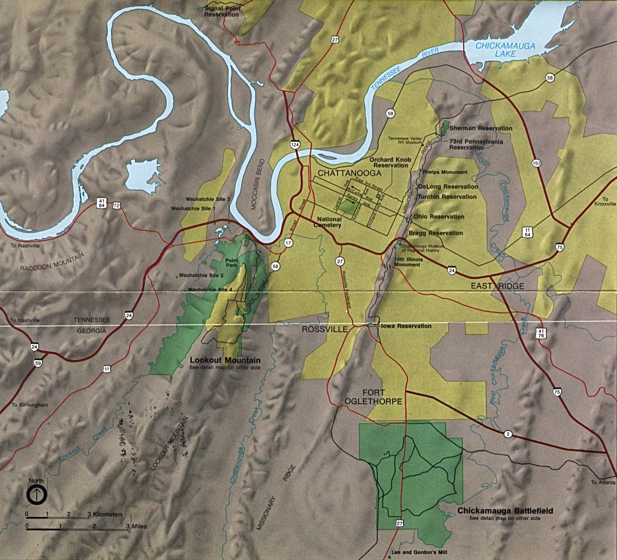This Map Shows All Of The Chickamauga And Chattanooga National Military  Park Which Covers A Wide Area Of North Georgia And South East Tennessee